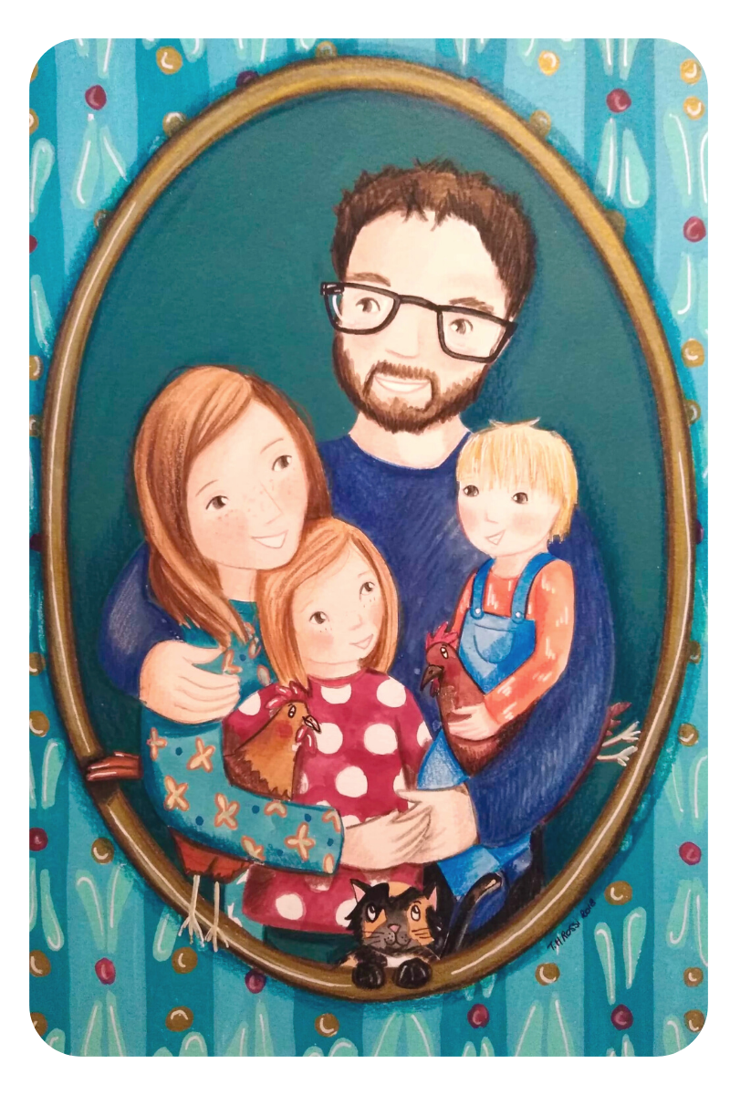 portrait-famille-illustration-therese-marie-rossi-gouche-crayon-couleur