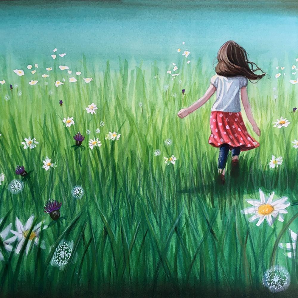 fille-courir-air-prairie-fleur-cheveux-vent
