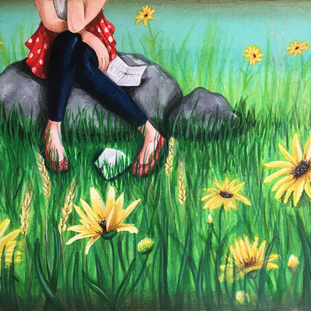 lettre-pied-papier-prairie-jardin-herbe-fleur